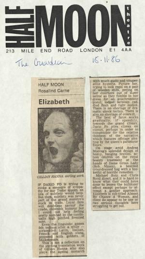 Rosalind Carne, The Guardian, 18 November 1986