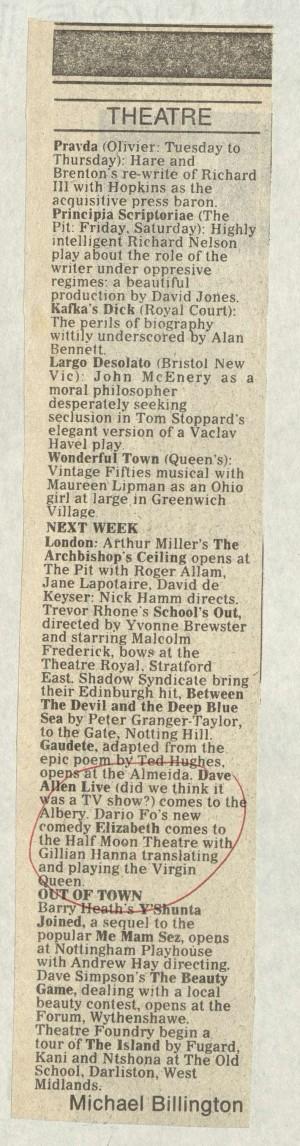 Michael Billington, The Guardian 24 October 1986