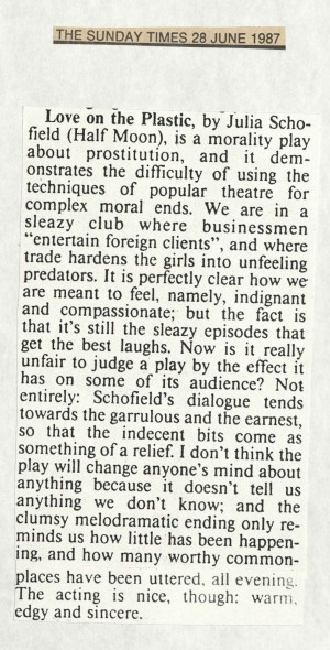 The Sunday Times review, 28 June 1987