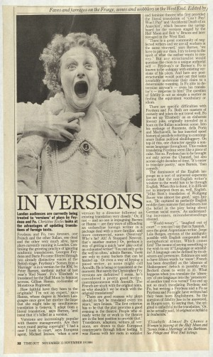 Christine Eccles, Time Out, 12 November 1986
