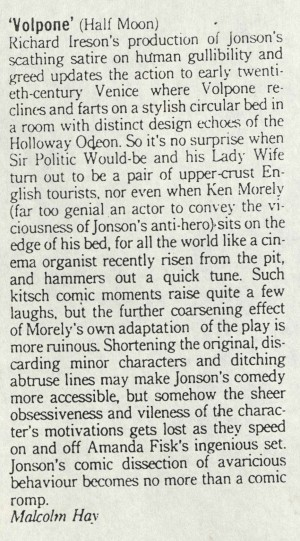 Malcom Hay, Time Out, 22 April 1987