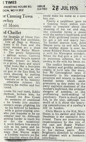 News Reviews 1976 - Canning Town Cowboy - Ned Chaillet, The Times, 28th July 1976
