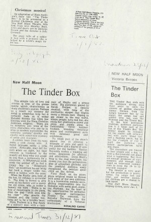 The Tinder Box News Reviews - The Guardian, The Daily Telegraph and Time Out, 1984
