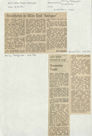 News Reviews Daily Telegraph and The Guardian 1985 - Sweeney Todd (6)