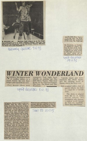 The Lion, The Witch and The Wardrobe, reviews December 1983