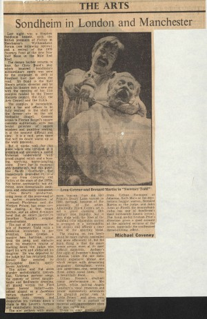 News Reviews, Financial Times, Michael Coveney 1985 - Sweeney Todd (2)