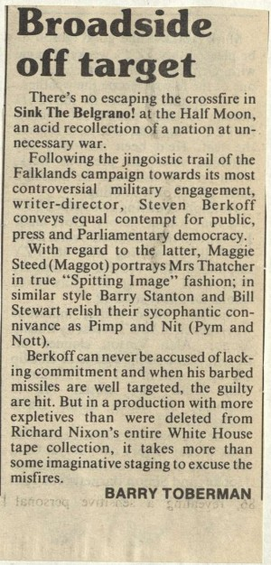 Barry Toberman, Jewish Chronicle, 19th September 1986