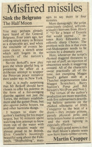 Martin Cropper, The Times, 10 September 1986