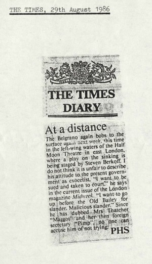 PHS, The Times, 29th August 1986