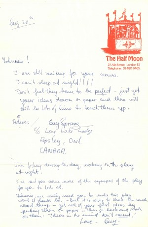 Note to Johnnie Quarrell from Guy Sprung re Script