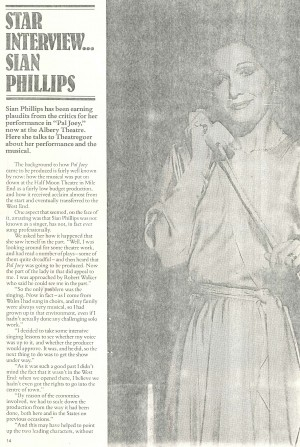 Pal Joey Interview with Sian Phillips - Theatre Goer, Feb-Mar 1981 (2)