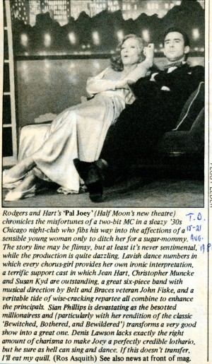 Pal Joey Review - Ros Asquith - Time Out - 15th Aug 1980