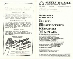 Pal Joey transfer programme from Albery Theatre, 1980 - page 2
