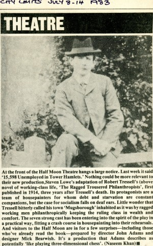 The Ragged Trousered Philanthropist Article, Naseem Khan, City Limits Magazine, 8th July 1983