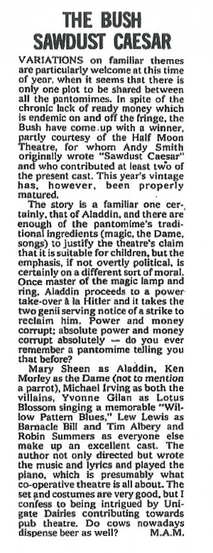 M.A.M., The Stage, 2 January 1975