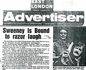 Sweeney Todd Advertisement - East London Advertiser - May 1985