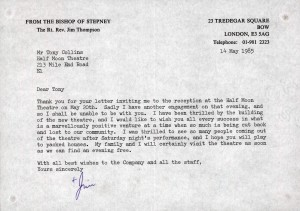 Letter from the Bishop of Stepney, The Rt. Rev. Jim Thompson