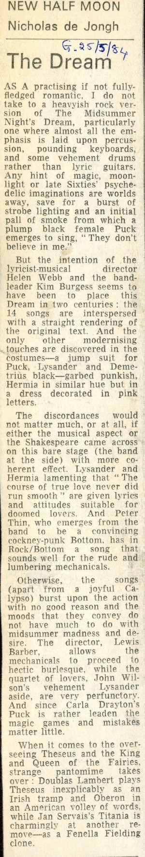 Dreamer Review, Nicholas de Jongh - The Guardian - 25th May 1984