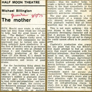 The Mother Review- Michael Billington - The Guardian - 9th May 1973