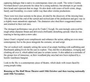 Sarah Nutland, The Public Reviews, 11 October 2011
