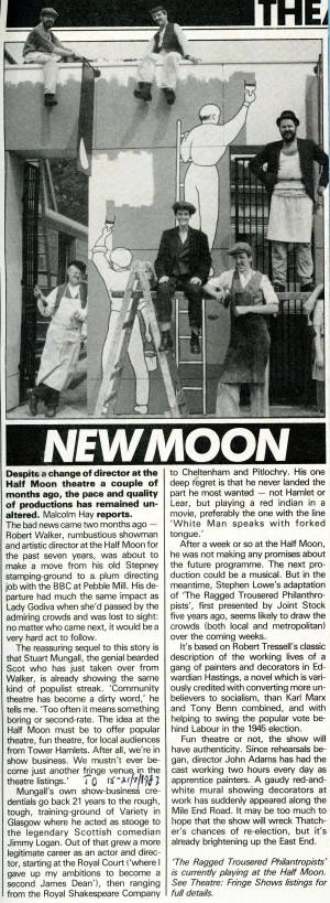 The Ragged Trousered Philanthropist Advertisment - Time Out -15th Jul 1983