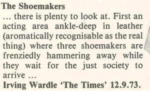 Irving Wardle in The Times, 12 September 1973