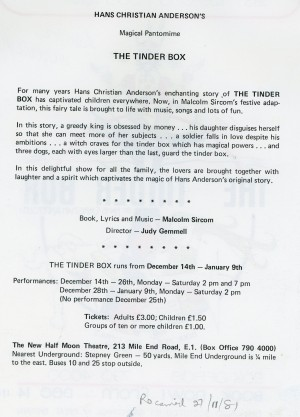 The Tinder Box - Flyer (back)
