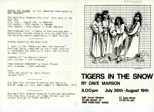 Tigers in the Snow - Programme (1)