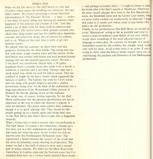 Steve Gooch's authors note in published play. Pluto Press, London, 1975