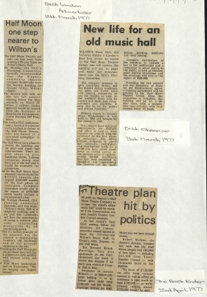 1977 Articles on bid to buy Wilton Music Hall