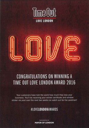 Time Out Love London Award