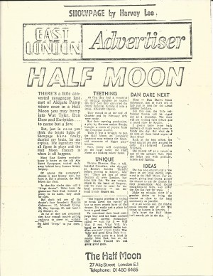Article on Half Moon (Alie Street), East London Advertiser, June 1972