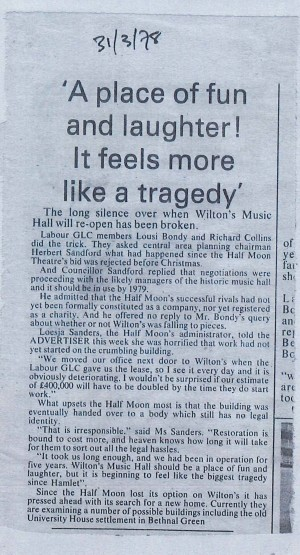 Article on failure to buy Wilton's - East London Advertiser, 31 Mar 1978