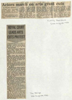 August 1983 Arts Cuts Protest Article