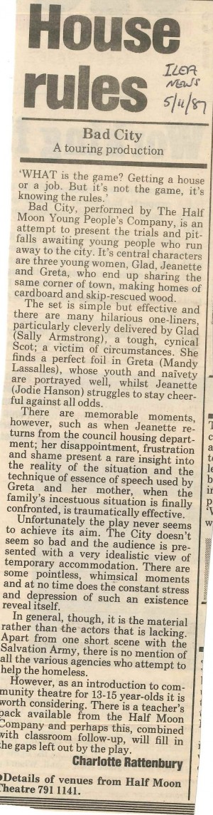 Charlotte Rattenbury, Ilea news, 5 Nov 1987