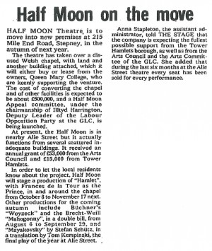 Half Moon Move to Mile End, The Stage, 5 July 1979
