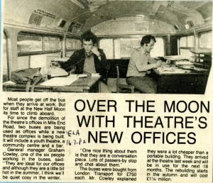 Half Moon new offices inside buses - East London Advertiser, 16 February 1982