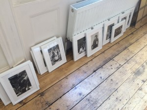 Getting ready for the Stages of Half Moon exhibition.