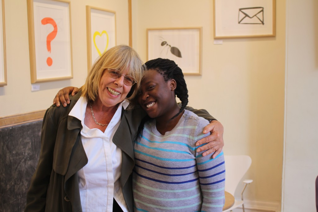 Frances de la Tour with our work experience student Khalilah.