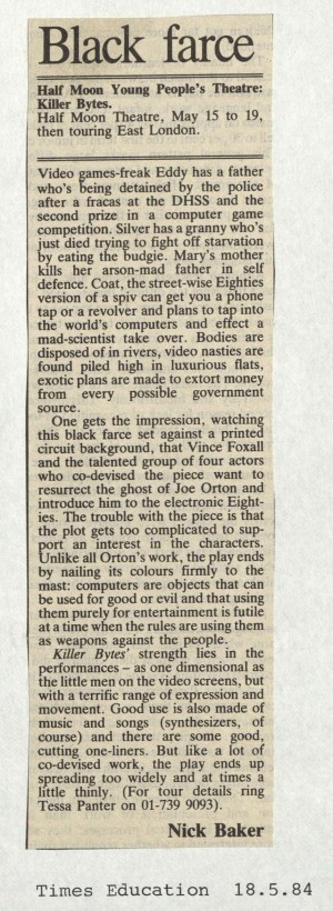 Killer Bytes - Nick Baker, Times Education, 18 May 1984
