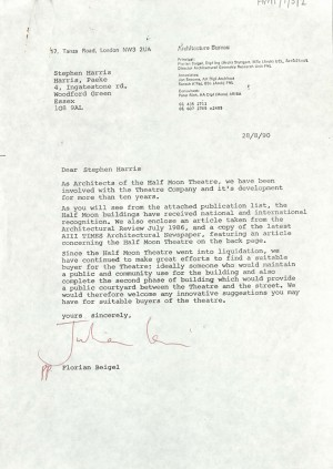 Letter from Architect to find purchaser for Theatre