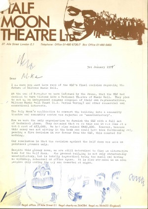 Letter from Loesje Sanders, HM, to Mike about GLC decision on Wilton Music Hall, 3 Jan 1977, page 1