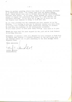 Letter from Loesje Sanders, HM, to Mike about GLC decision on Wilton Music Hall, 3 Jan 1977, page 2