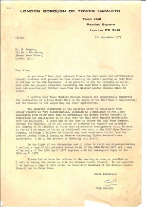 Letter from Paul Bearsley, LBTH, to Mike Jempson about Half Moon and Wilton Music Hall, 6 Sep 1977