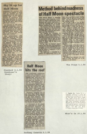 Multiple news articles on Half Moon Hits the Roof 1984