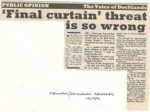 Open letter - Newham Docklands recorder 10 Oct 1991