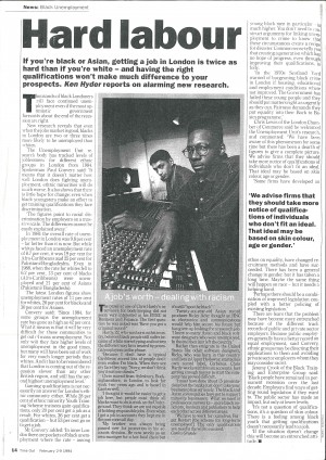 Press Feature 'Hard Labour', Time Out, 23 feb 1994