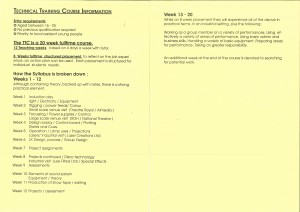 Technical Theatre Training Programme of Course