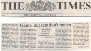 Kate Bassett, The Times, 11 Jan 1995