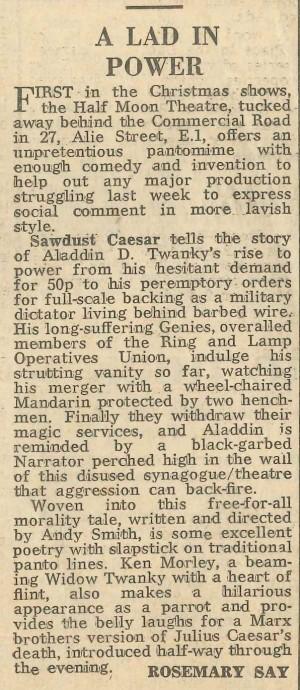 Rosemary Say, Sunday Telegraph, 19 Dec 1972